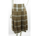 VINTAGE Unbranded Pleated Knee Length Skirt Brown Check Size: 12