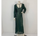 Unbranded Sheer Beaded Gown Green Size: M