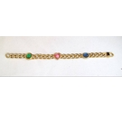 Dress Gold tone chain bracelet with coloured glass stones and heart detail