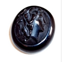 Victorian carved Whitby jet brooch