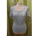 Jacques Vert Sequinned Lace Top Light Blue Size: M