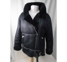 MISSGUIDED BLACK FAUX LEATHER BOMBER JACK BLACK Size: 12