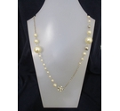 Pearl Effect Metal Diamante Long Necklace 44""