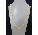 Pearl Effect Plastic Diamante Long Necklace 38""
