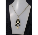 Metal Black Plastic Diamante Long Necklace 32""