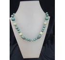 Turquoise Necklace Wood Plastic Metal 18""
