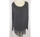 Rocha John Rocha Long Sleeve Lace Top Black Size: 22