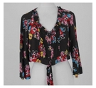 Boden Floral Crop Top Brown & Pink Size: 14