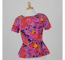 Whistles Floral Abstract Peplum Top Pink Size: 8
