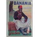 postcard-sized metallic advertisement for 'Banania'