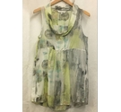 Sandwich Silk Mix Scoop Neck Sleeveless Scoop Smock Top Yellow Green Size: L