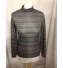 TOPSHOP LONG SLEEVED HIGH NECKED TOP BLACK & SILVER Size: 6