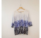 M&S Collection Floral Graphic Gradient Cardi Blue Gradient Size: 16