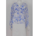 India Fashions Sheer Tasselled Blouse Blue & White Size: 10