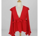 Boohoo Frill Trim Blouse Crimson Red Size: 18