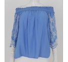 M&S Marks & Spencer Embroidered Bardot Top Chambray Blue Size: 12