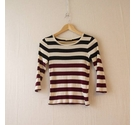 Whistles Colour Block Stripe Fine Knit Cream & Wine Size: S
