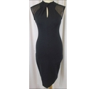 French Connection Midi Dress with Mesh Shoulders Black Size: 8