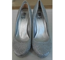Miss Diva Shoes Newcastle Low Heel Diamante Silver Satin Silver Size: 5