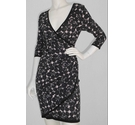Phase Eight Knitted Wrap Dress Pink & Black Size: 10