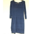 Monsoon Knitted Cotton Summer Dress Blue Size: L