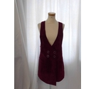 Mango Leather Dungaree Dress Red Size: S