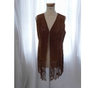 Rino & Pelle Sleeveless Suede Jacket Brown Size: 8