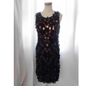 Phase Eight Sleeveless Sequin Dress Black & Copper Size: 10