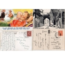7 Postcards with painted or hand-drawn designs and George VI stamps