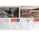 9 vintage postcards from Devon & Cornwall with 'Wilding' design stamps