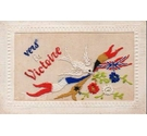 Silk-embroidered 'Vers la Victoire' postcard