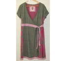 Fat face Wrap Around Cotton Dress Green Pink Size: 14