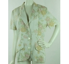VINTAGE Etam Linen Mix Short Sleeved Jacket Beige Floral Size: 14