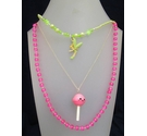 Pink Childrens Plastic Necklaces