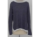 Jaeger Linen jumper navy/white mix Size: M