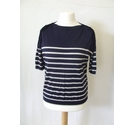 Whistles nautical Breton knit buttons 100% merino wool navy striped Size: 14