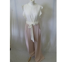 Phase Eight jumpsuit fitted frill smart formal cream belt pink cream Size: 12
