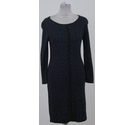 Velvet by Graham & Spencer fine knit animal print dress black and blue Size: S