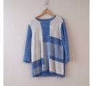 Isle Colour Block Ribbon Weave Knit Cornflower Blue Size: L