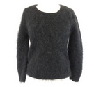 Fuzzy hand knitted jumper black Size: M