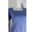 Luisa Spagnoli Short Sleeved Knitted Top Blue Size: M