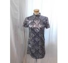 OML Short Sleeved Dress Silver Sequin Size: XS