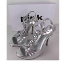 BNWT Pink Paradox London T-Bar Jewelled Sandals Silver Size: 5