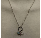 "Silver handmade pendant and chain (16"")"