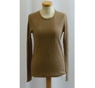 Massimo Dutti NEW Linen Long-Sleeved Top Light Brown Size: XS
