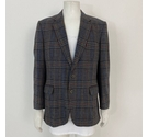 Aquascutum Checked Wool Suit Jacket 44R Grey Mix Size: XL