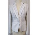 M&S Marks & Spencer Striped Suit Jacket White Size: 10