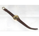 Aqua ladies round Quartz watch in gold-tone with brown leather strap. Water -resistant