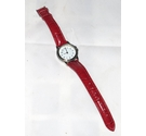 Ladies quartz wristwatch with bright red strap. As new