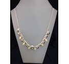 Karma Metal Silver Pearl Effect Necklace 15""